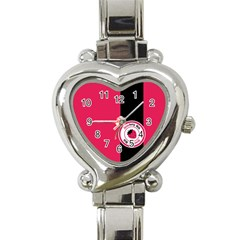 Brand Ribbon Black With Pink Heart Italian Charm Watch