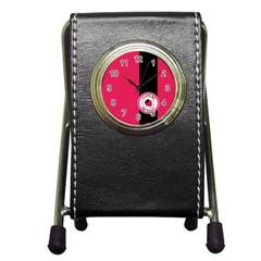 Brand Ribbon Black With Pink Pen Holder Desk Clock