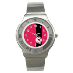 Brand Ribbon Black With Pink Stainless Steel Watch