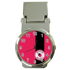 Brand Ribbon Black With Pink Money Clip Watch