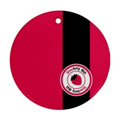 Brand Ribbon Black With Pink Round Ornament (Two Sides)