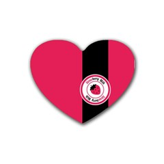 Brand Ribbon Black With Pink Rubber Coaster (Heart)