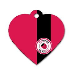 Brand Ribbon Black With Pink Dog Tag Heart (One Side)