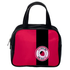 Brand Ribbon Black With Pink Classic Handbag (One Side)