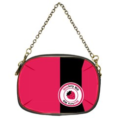Brand Ribbon Black With Pink Chain Purse (One Side)