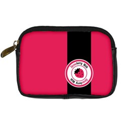 Brand Ribbon Black With Pink Digital Camera Leather Case