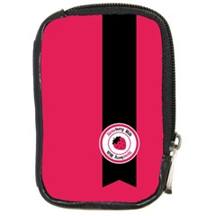 Brand Ribbon Black With Pink Compact Camera Leather Case