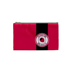 Brand Ribbon Black With Pink Cosmetic Bag (Small)