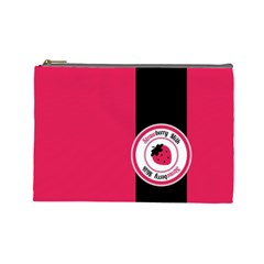 Brand Ribbon Black With Pink Cosmetic Bag (Large)