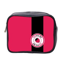 Brand Ribbon Black With Pink Mini Toiletries Bag (two Sides)