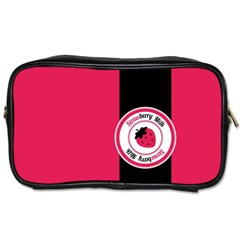 Brand Ribbon Black With Pink Toiletries Bag (two Sides)