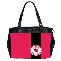 Brand Ribbon Black With Pink Oversize Office Handbag (Two Sides)