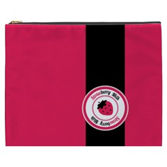 Brand Ribbon Black With Pink Cosmetic Bag (xxxl)