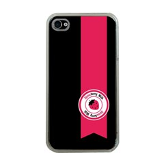 Brand Ribbon Pink With Black Apple iPhone 4 Case (Clear)