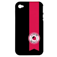 Brand Ribbon Pink With Black Apple iPhone 4/4S Hardshell Case (PC+Silicone)