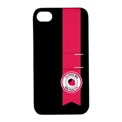 Brand Ribbon Pink With Black Apple Iphone 4/4s Hardshell Case With Stand