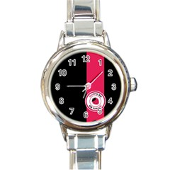 Brand Ribbon Pink With Black Round Italian Charm Watch