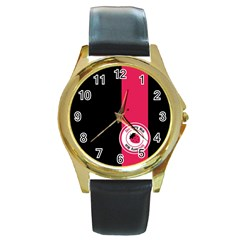Brand Ribbon Pink With Black Round Gold Metal Watch
