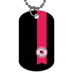 Brand Ribbon Pink With Black Dog Tag (One Side)
