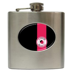 Brand Ribbon Pink With Black Hip Flask (6 Oz)