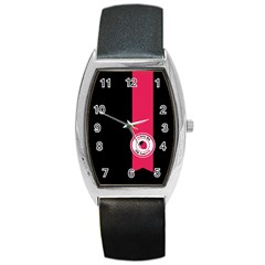 Brand Ribbon Pink With Black Barrel Style Metal Watch