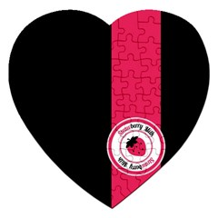 Brand Ribbon Pink With Black Jigsaw Puzzle (Heart)