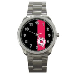 Brand Ribbon Pink With Black Sport Metal Watch