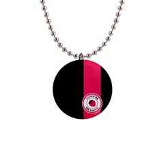 Brand Ribbon Pink With Black 1  Button Necklace