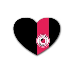Brand Ribbon Pink With Black Rubber Coaster (Heart)