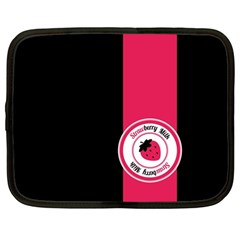 Brand Ribbon Pink With Black Netbook Case (Large)