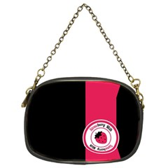 Brand Ribbon Pink With Black Chain Purse (Two Sides)