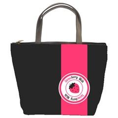 Brand Ribbon Pink With Black Bucket Bag