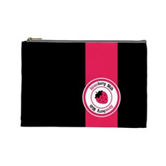 Brand Ribbon Pink With Black Cosmetic Bag (large)