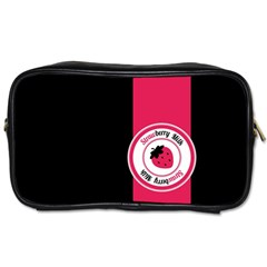 Brand Ribbon Pink With Black Toiletries Bag (one Side)