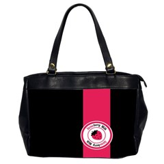 Brand Ribbon Pink With Black Oversize Office Handbag (Two Sides)