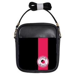 Brand Ribbon Pink With Black Girls Sling Bag