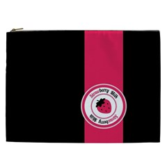Brand Ribbon Pink With Black Cosmetic Bag (xxl)