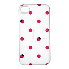 Strawberry Dots Pink Apple iPhone 4/4S Hardshell Case with Stand