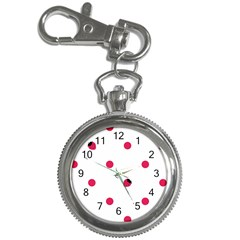 Strawberry Dots Pink Key Chain Watch