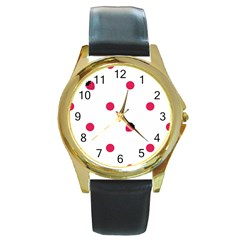 Strawberry Dots Pink Round Gold Metal Watch