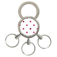 Strawberry Dots Pink 3 Ring Key Chain