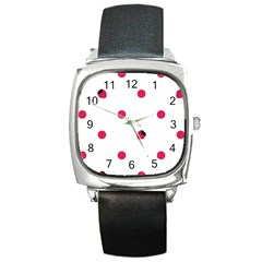 Strawberry Dots Pink Square Metal Watch
