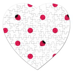 Strawberry Dots Pink Jigsaw Puzzle (heart)