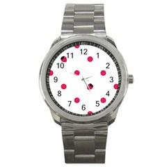 Strawberry Dots Pink Sport Metal Watch