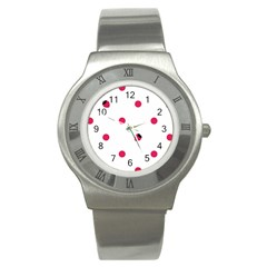 Strawberry Dots Pink Stainless Steel Watch