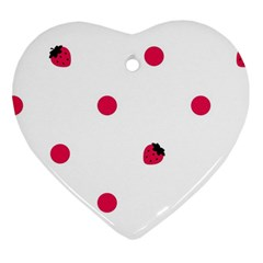 Strawberry Dots Pink Heart Ornament (Two Sides)