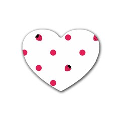 Strawberry Dots Pink Rubber Coaster (Heart)
