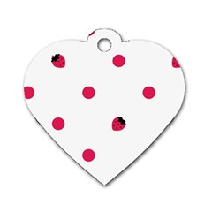 Strawberry Dots Pink Dog Tag Heart (Two Sides)