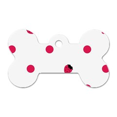 Strawberry Dots Pink Dog Tag Bone (two Sides)