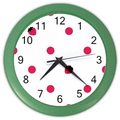 Strawberry Dots Pink Color Wall Clock
